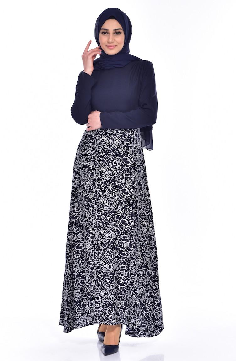 W  B Viscose Printed Dress 5735-01 Navy Blue 5735-01