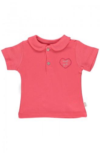 Bebetto Gekämmtes T-Shirt mit Babykragen K1854-NR-01 Granatapfel Blumen 1854-NR-01
