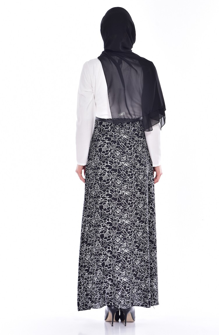 a9d406d3dc577 وايت بيرد فستان فيسكوز بتصميم مُطبع 5735-04 لون أسود و أبيض 5735-04