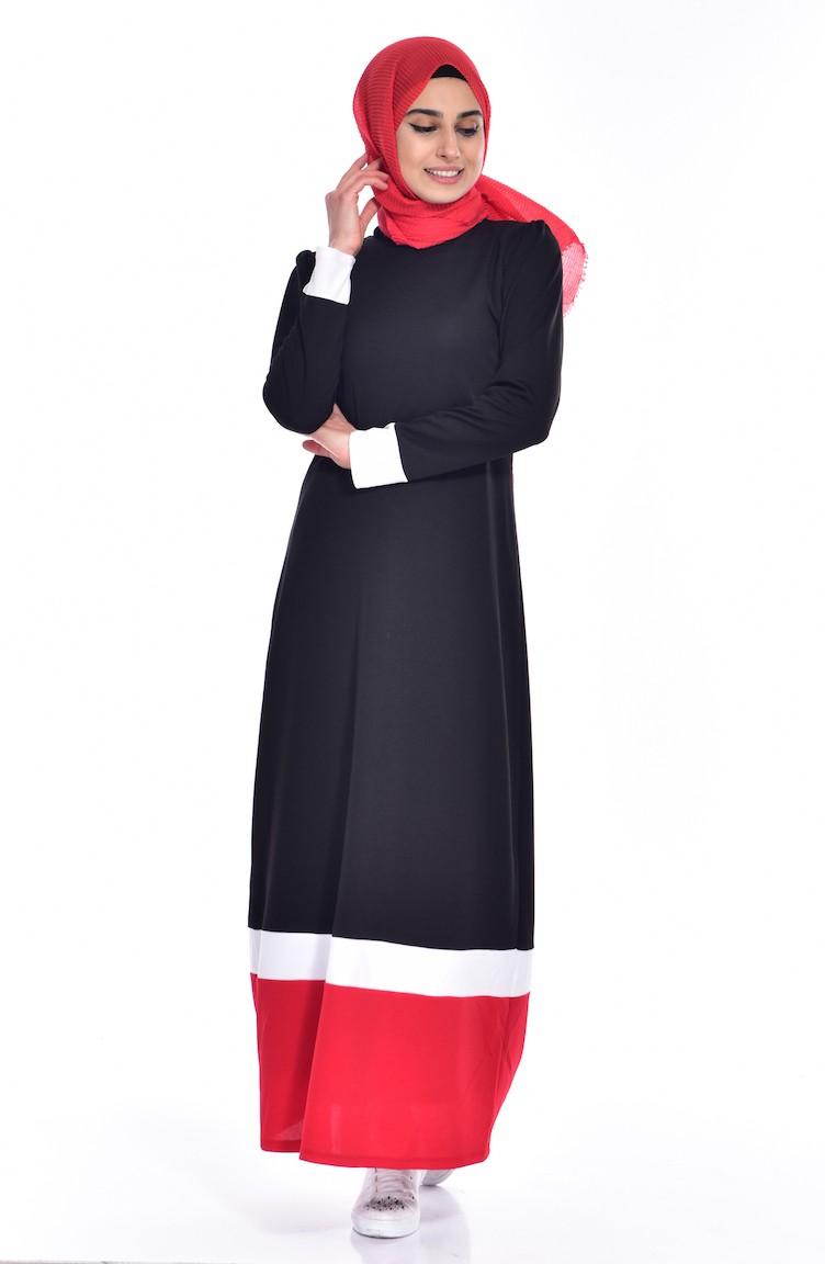 57507756beacf Garnili Elbise 3308 -05 Siyah Kırmızı