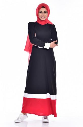 فستان بتفاصيل مُخطط 3308 -05 لون أسود وأحمر 3308 -05