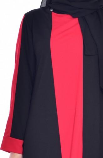 فستان بتفاصيل مُخطط 3309-03 لون أسود وأحمر 3309-03