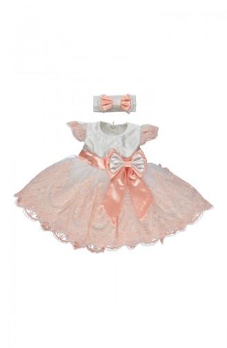 Bebetto Satin Kleid mit Spitzen K1902-SMN-01 Lachs 1902-SMN-01