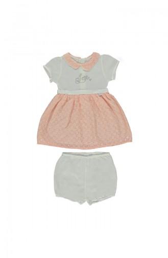 ببيتو  طقم فستان أطفال مكون من قطعتين K1701-SMN-01 لون مشمشي 1701-SMN-01