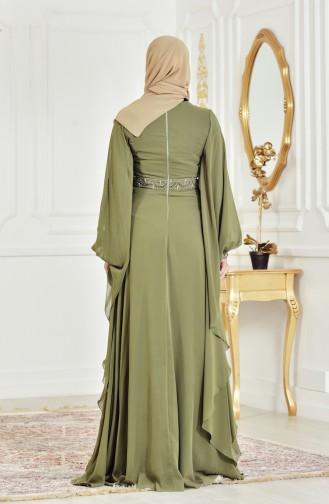 Khaki Islamic Clothing Evening Dress 8211-04