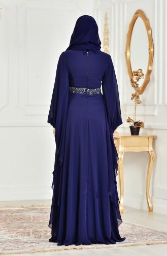 Robe de Soirée avec Perles et Pierre 8211-07 Bleu Marine 8211-07
