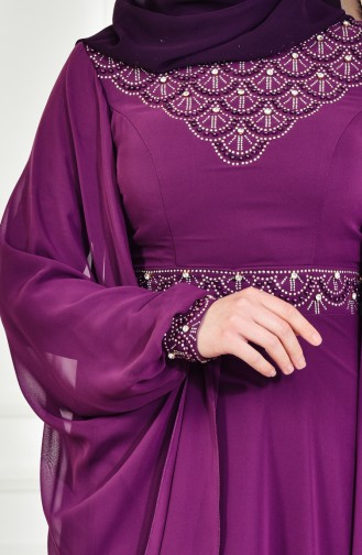 Purple Islamic Clothing Evening Dress 8211-05