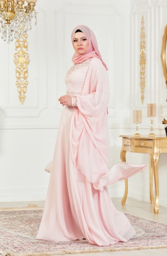 Powder Islamic Clothing Evening Dress 8211-03
