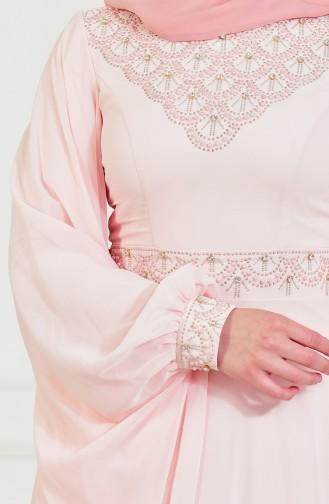 Robe de Soirée avec Perles et Pierre 8211-03 Poudre 8211-03