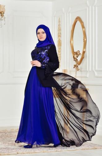 Sequined Evening Dress 7959-04 Black Saks 7959-04