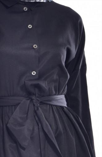 Kuşaklı Düğmeli Tunik 2446-01 Siyah