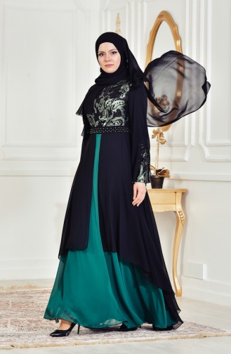 Sequined Evening Dress 7959-03 Black Emerald 7959-03