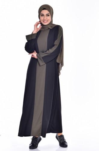 فستان بتفاصيل مُخطط 3309-05 لون أسود وأخضر كاكي 3309-05