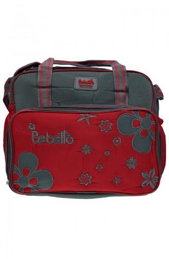 ببيتو حقيبة العناية بالطفل بتصميم كبير  P702-GRKRMZ لون رمادي و أحمر 702-GRKRMZ