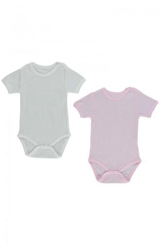 Bebetto Combed Net short Sleeve Baby Bodysuit 2 T1393-PMBEKR Pembe light Beige 1393-PMBEKR