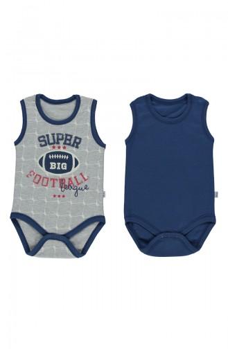 Bebetto Combed Sleeveless Baby Bodysuit 2 T1425-GR Gray 1425-GR