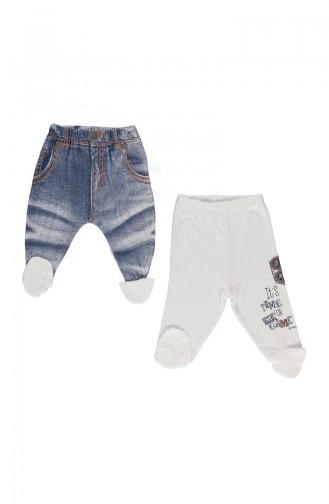Bebetto Pantalons a Chaussettes Peigné 2 Pieces T1467-BYZ Blanc 1467BYZ