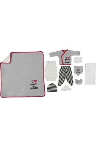 ببيتو طقم ملابس اطفال لحديثي الولادة عدد 10 قطع  Z443-GR لون رمادي 443-GR