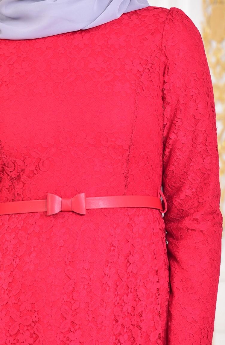 0fbd193b2b731 Dantelli Abiye Elbise 4041-01 Kırmızı