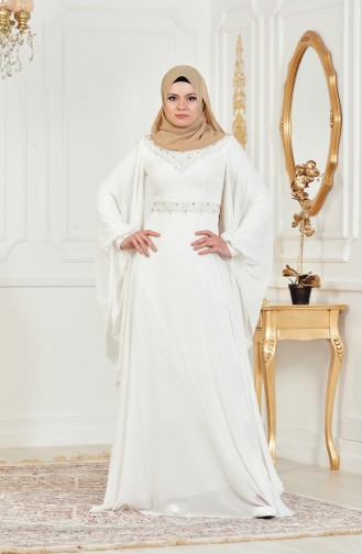Cream Islamic Clothing Evening Dress 8211-06