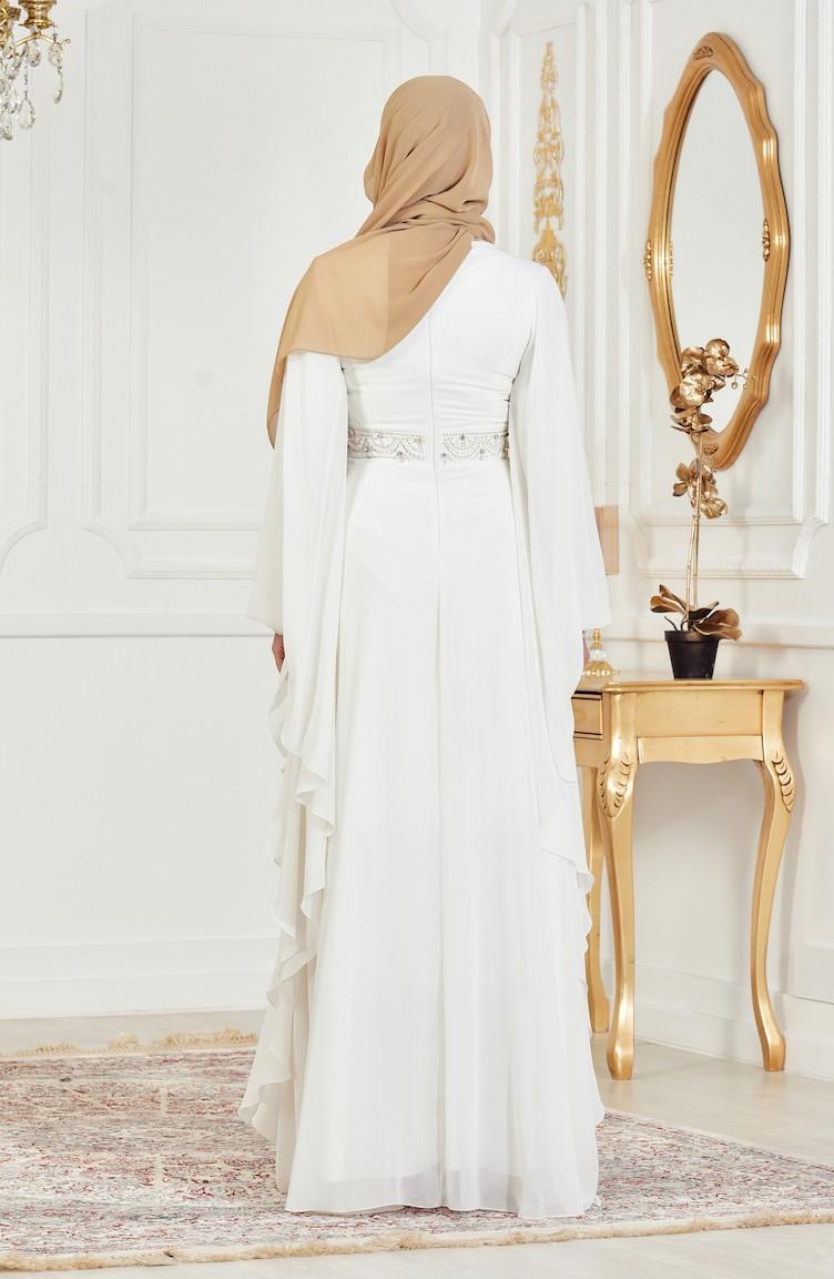 Perlen Abendkleid mit Strassstein 11-11 Creme 11-11