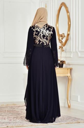 Robe de Soirée a Paillette 7959-01 Noir Gold 7959-01