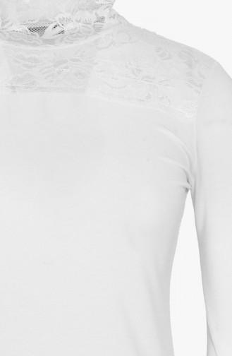 Langärmeln Body mit Spitzen 09221-04 Weiß 09221-04