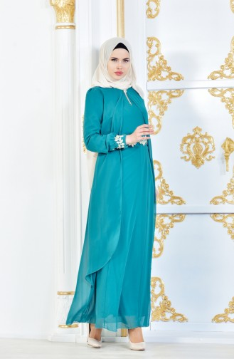Güpürlü Şifon Elbise 52221A-07 Çağla Yeşil 52221A-07