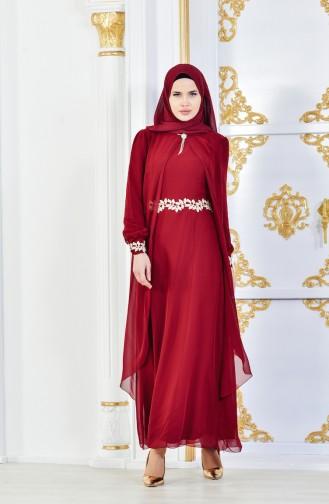 Dark Claret Red İslamitische Jurk 52221A-14