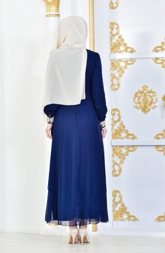 Tesettür Elbise FY 52221-05 Lacivert