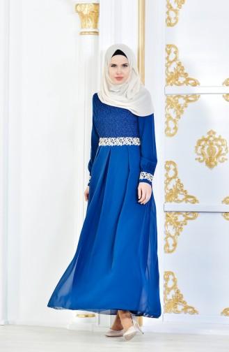 Tesettür Elbise FY 51983-19 Petrol