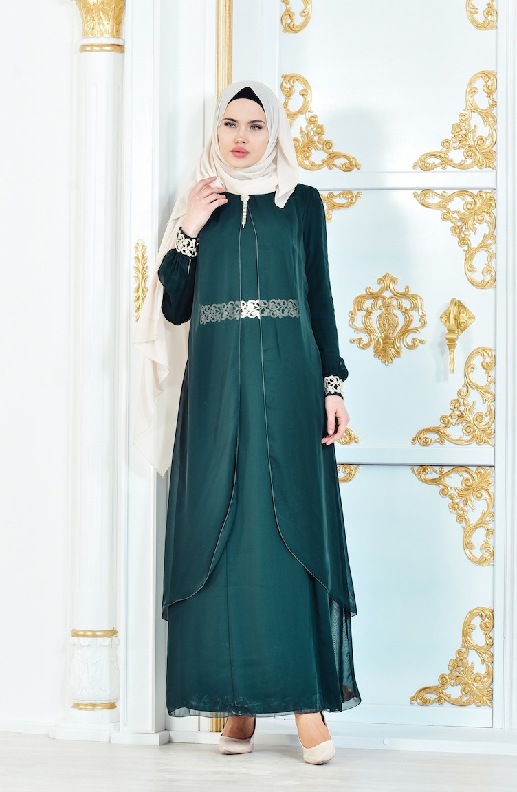 7b3b0deef2331 Chiffon Glossy Details Dress 52221-07 Green 52221-07