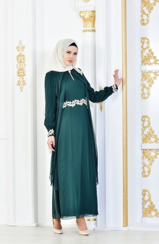 فستان شيفون مطرز لون اخضر 52221A-02