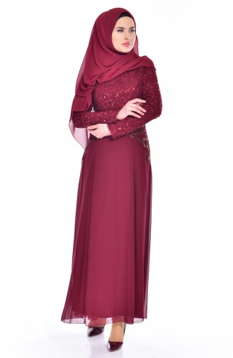 Claret red Islamic Clothing Evening Dress 52614-03