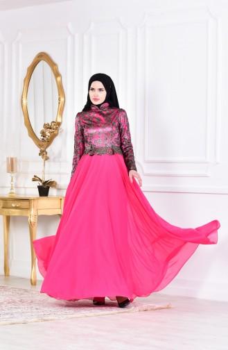 Fuchsia Islamic Clothing Evening Dress 1713288-01