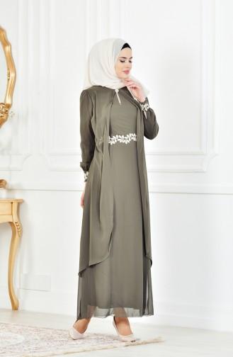 Khaki İslamitische Jurk 52221A-08