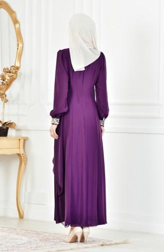 Robe Hijab FY 52221-23 Pourpre Foncé 52221-23