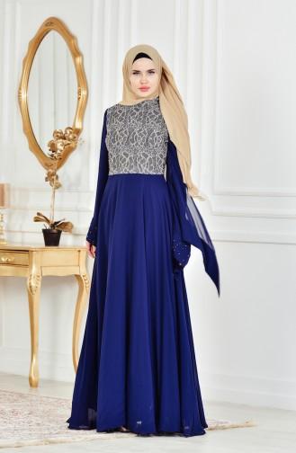Robe de Soirée Perlées a Dentelle 1713202-01 Bleu Marine 1713202-01