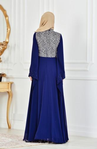 Navy Blue Islamic Clothing Evening Dress 1713202-01