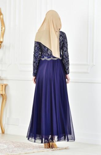 فستان سهرة بتفاصيل من الدانتيل 7960-07 لون كحلي 7960-07