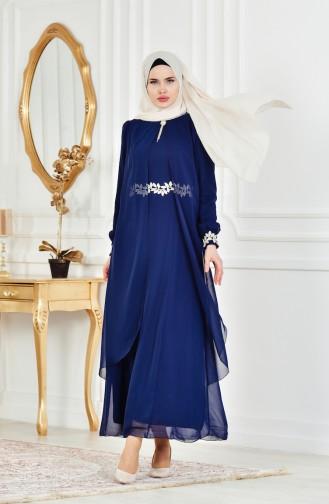 Geschnürtes Kleid aus Chiffon 52221A-06 Dunkelblau 52221A-06