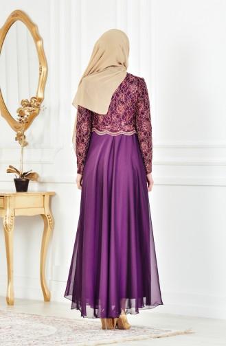 Lace Evening Dress 7960-05 Purple 7960-05