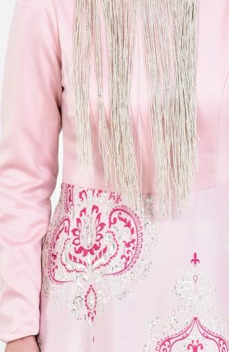 Pink İslamitische Avondjurk 1012-01