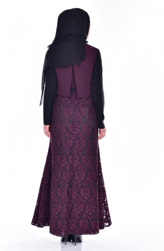 Claret red Islamic Clothing Evening Dress 1713178-01