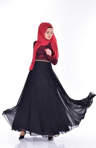 فستان بتفاصيل مرصعة ومن الدانتيل  1713231-01