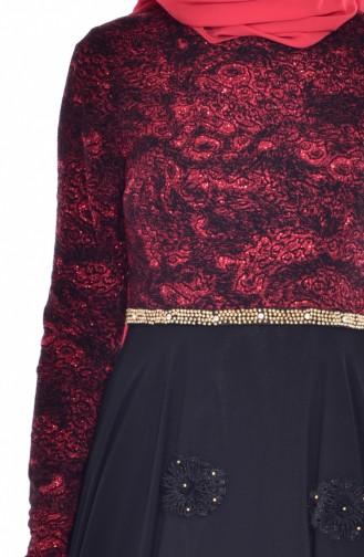 Robe de Soirée a Paillette 1713231-01 Noir Rouge 1713231-01
