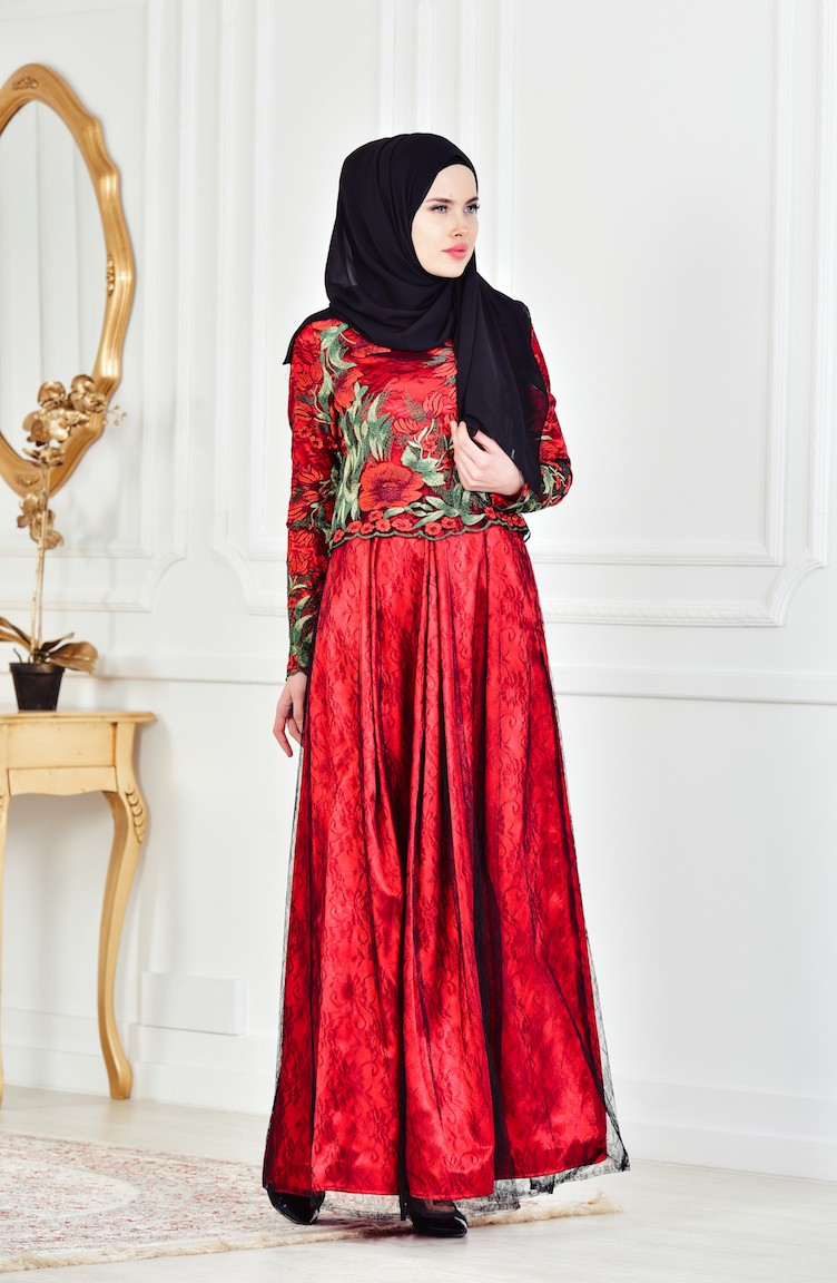 7baec61cd670b Red Islamic Clothing Evening Dress 1613086-01