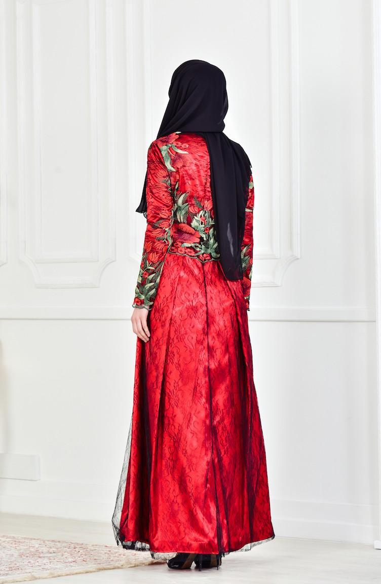 0ba38b00b3c04 Çiçek Desenli Abiye Elbise 1613086-01 Siyah Kırmızı