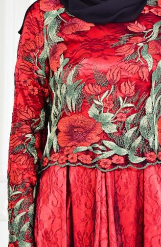 Robe de Soirée a Motifs Fleurs  1613086-01 Noir Rouge 1613086-01