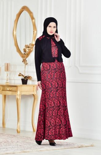 Robe de Soirée a Dentelle et Pierre 1713178-03 Rouge Noir 1713178-03